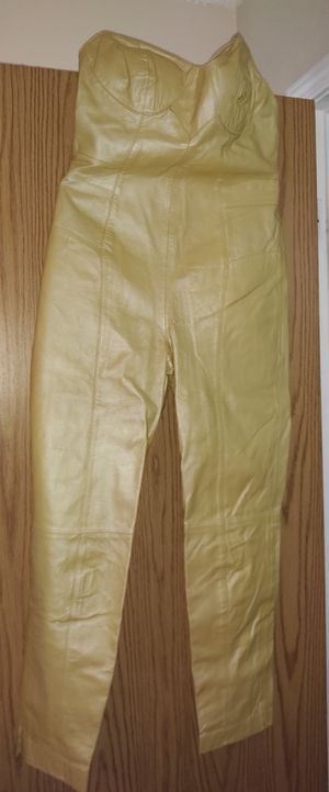 Women's gold size 12 leather halter top jumpsuit for Sale in Lakewood, CO