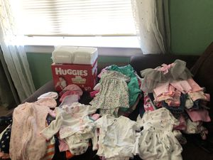 50$ for 120 diapers for newborn, over 100 pieces of girl clothing from 0-3 months for Sale in Newark, CA