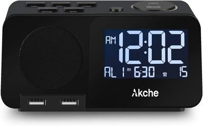Alarm Clock with FM Radio Night Light Digital Alarm Clocks for Bedrooms,Adjustable Volume,Dimmers with Three-Level Intensity, Two USB Charging Port,Tw for Sale in Ontario,  CA