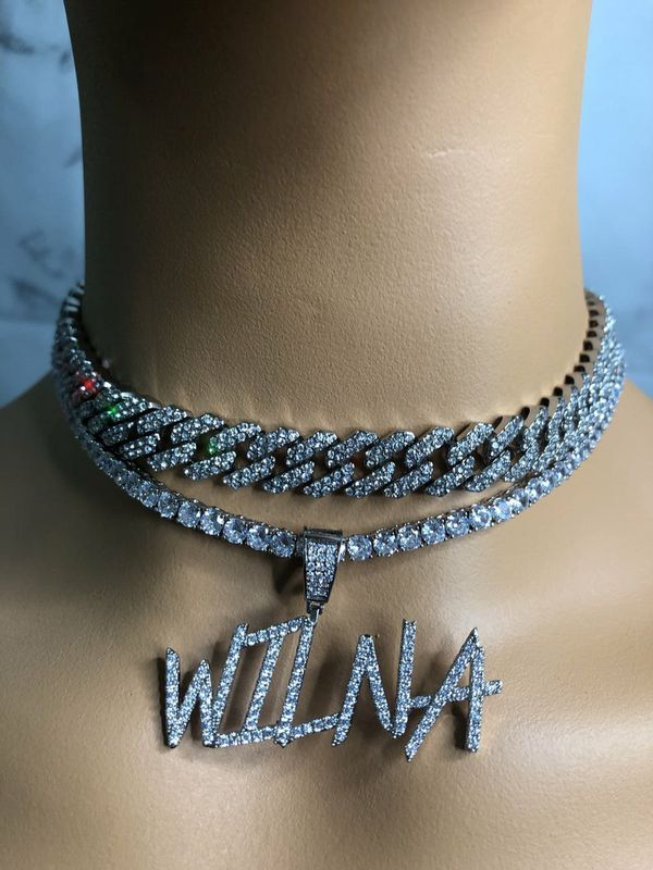 Silver cuban chain necklace, blinged iced cuban necklace , Micro Paved 12mm S-Link Miami Cuban Necklaces Hiphop Men and women Iced necklace