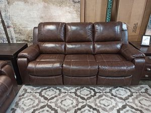 Real Leather Reclining Sofa, Brown for Sale in Santa Fe Springs, CA