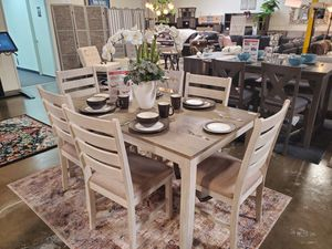 7 Piece Dining Set, White/Light Brown for Sale in Huntington Beach, CA