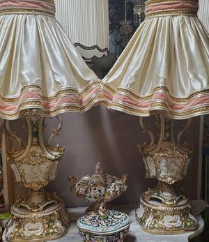 Antique unique capodimonte pair of lamps for Sale in Tampa, FL