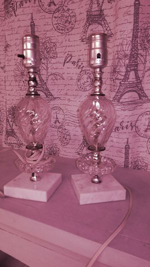 Two matching antique Itailian lamps marble bottom for Sale in Batsto, NJ