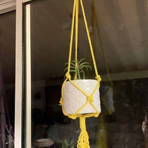 Yellow Macrame Hanging Plant Holder Decor Garden Indoor Outdoor for Sale in Riverside, CA