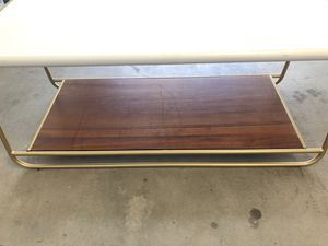White top, Gold frame, Wood base Coffee table for Sale in San Diego, CA