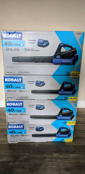 Kobalt 40-Volt Lithium Ion 350-CFM 100-MPH Cordless Electric Leaf Blower + charger and 2.5 Ah battery for Sale in Las Vegas, NV