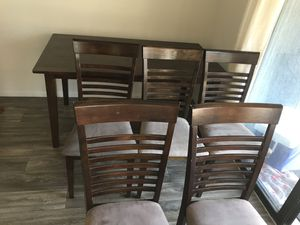 10 Piece, Dining Table, With Dining Chairs, Entertainment Center, Two Nightstands, Cherry Red Stained Wood Furniture Set for Sale in Escondido, CA
