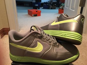 """"""" FLAWLESS CONDITION- AF1's LUNAR FUSE 1 !! METALLIC DARK SILVER/w VOLT !! SPECKLED FLAKES ON VOLT SOLES - ( MENS 10.5 ) *LIGHT IN WEIGHT*!! for Sale in Orlando, FL"""