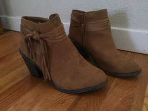 Leather booties with fringe size 8.5 for Sale in Louisville, CO
