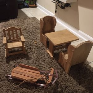 Handmade American Girl Doll Table Chairs Sled An Rocking Chair for Sale in Yeadon, PA