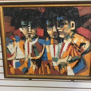 Three Matadors ( Abstract) Knife Painting On Canvas Size 32x26 Frame In Glendale NY for Sale in Port St. Lucie, FL