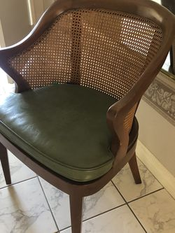 Vintage Mid-Century Modern Wormley Style Barrel Caned Back Arm Chair for Sale in Costa Mesa,  CA
