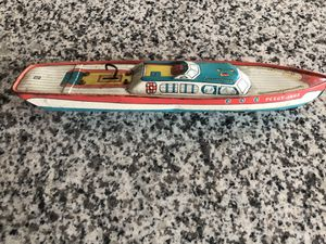 """Vintage 1950's J Chein """"Peggy Jane"""" Speed Boat Tin Litho Wind-Up Toy for Sale in Riverside, NJ"""