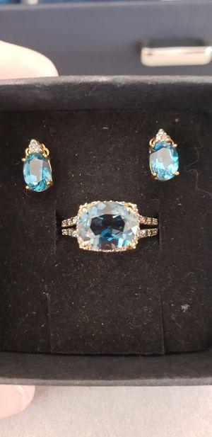 10 k London blue topaz and diamond set for Sale in San Jose, CA