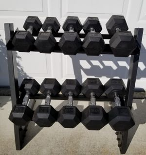 CAP rubber hex dumbbells 10 to 30 pounds with rack for Sale in Pleasanton, CA