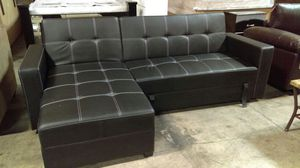New! Black Adjustable Futon Sectional with Storage for Sale in Jessup, MD