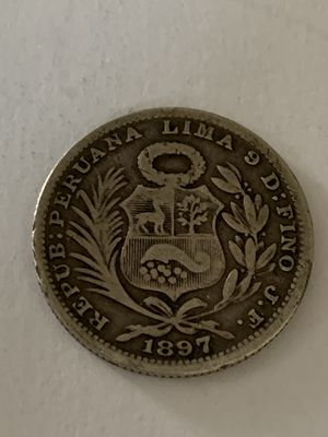 Small 1897 Peru 1/5 Sol Silver Coin in great condition for Sale in Quincy, MA