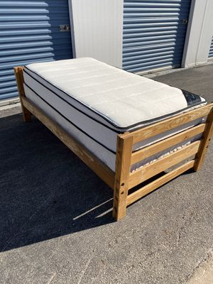 Twin bed frame with mattress and box spring for Sale in Houston, TX