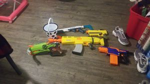 Nerf guns with a bucket of bullets for Sale in Visalia, CA