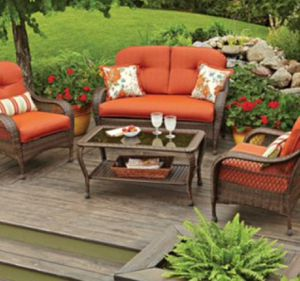 New!! Patio set,coffee table patio set , 4 pc coffee table cushioned patio set, outdoor conversation set, chat set, patio furniture , orange for Sale in Phoenix, AZ
