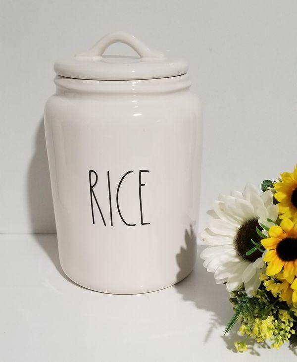 Rae Dunn Rice canister / farmhouse decor kitchen home storage