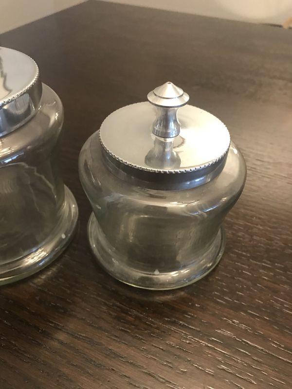 Silver decorative jars