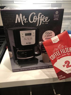 Mr. Coffee 5-cups JW Series coffee maker w/box of filters for Sale in Azusa, CA