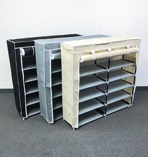 """(NEW) $25 each 6-Tiers 36 Shoe Rack Closet Fabric Cover Portable Storage Organizer Cabinet 43x12x43"""" for Sale in Whittier, CA"""