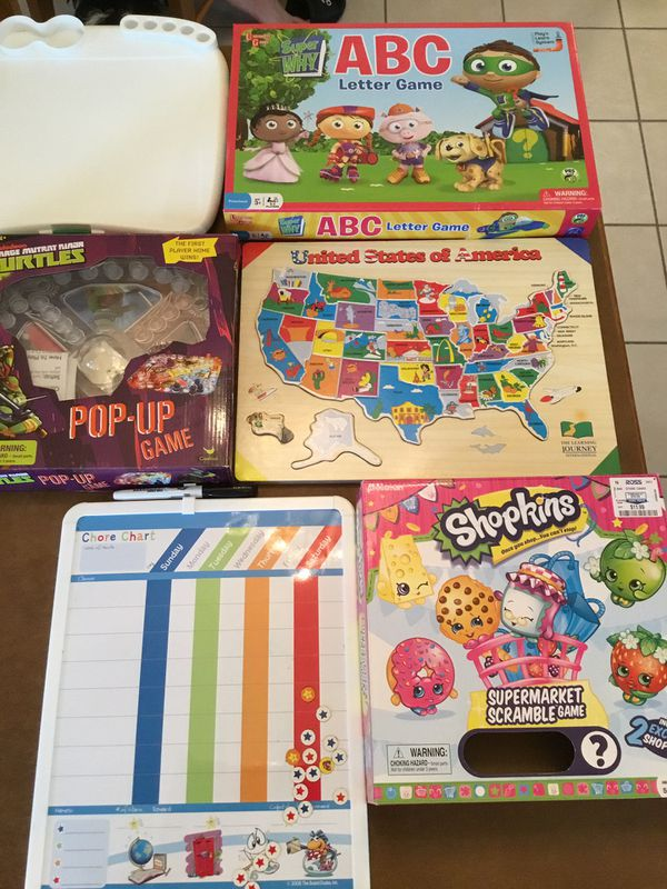 Games, puzzle, crayola, chore chart TMNT, Shopkins kid toys