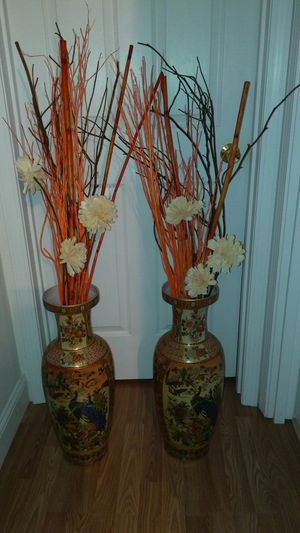 Two vases and decorative flowers for Sale in St. Louis, MO
