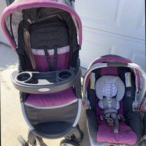 Graco Fastaction Fold, Click, Connect Travel System Stoller, Infant Carrier, and Car Base for Sale in Visalia, CA