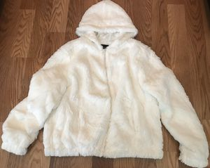 New Ladies Women's Clothes White/Ivory Fur Coat Hoodie Jacket Size XL for Sale in Spring, TX