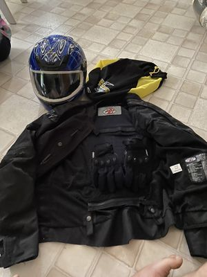 Women's motorcycle helmet gloves and jacket asking 100 for Sale in Gahanna, OH