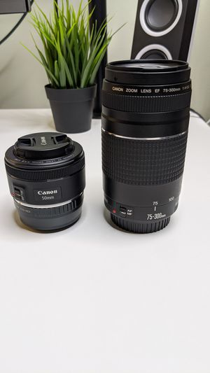 Two Canon Lenses 50mm f1.8 & 75-300mm f4-5.6 for Sale in Brandywine, MD
