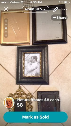 Variety of frames in many sizes 5x7 and 8x10 are $8 each larger frames $12 for Sale in Houston, TX