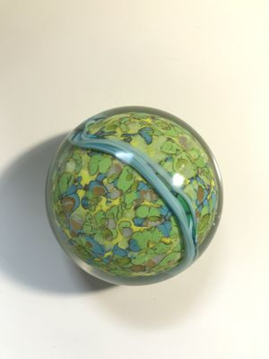 Brilliant green glass paperweight for Sale in Webster, MA