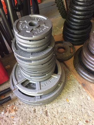 "WEIDER BARBELL STANDARD 1"" grip weight plates 120 lbs for Sale in Medina, OH"