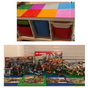 Wooden Lego table with 4 Jurassic World lego Sets for Sale in Shoreline, WA