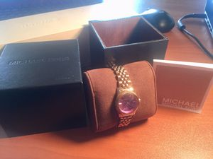 Micheal Kors Women's Watch pink/purple gold tone watch with purple dial 28.5 mm for Sale in Chambersburg, PA