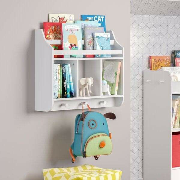 Kids White Floating Book Shelves