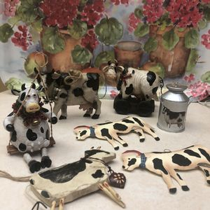 7 Christmas Cow Ornaments! for Sale in Costa Mesa, CA
