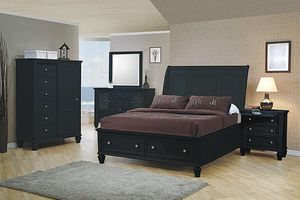(Brand New In Boxes) Queen Size Black Solid Wood Bedroom Set for Sale in Atlanta, GA
