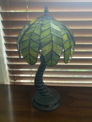 Vintage Collectible Tiffany Style Green Stained Glass Palm Tree Lamp Heavy Base for Sale in Miami Shores, FL