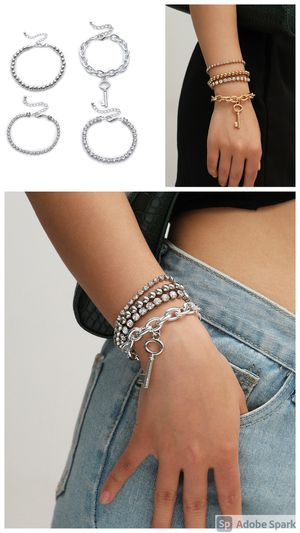 Multilayer Crystal Claw Chain Punk Style Cross Chain Bracelet, Gold and Silver Color for Sale in Los Angeles, CA