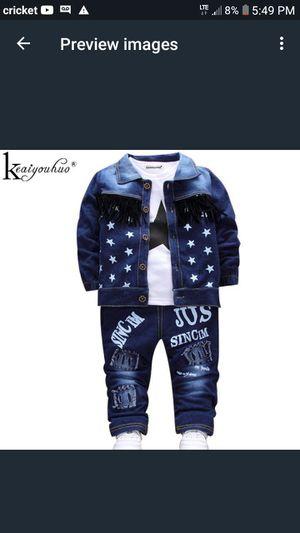 KEAIYOUHUO Children Clothing Sets Autumn Sport Suit Baby Boys Clothes Slong Sleeve Set Costume For Kids Jacket+Tshirt+Jeans 3Pcs for Sale in Phoenix, AZ