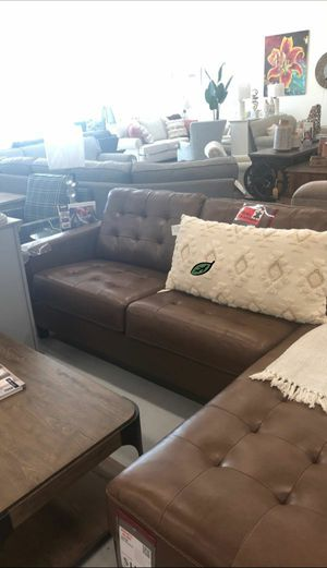 $39 Down Payment Best DEAL 🍾 Baskove Auburn Leather LAF Sectional 57 for Sale in Jessup, MD