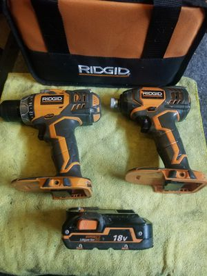 Ridgid X4 impact drill hammer drill battery and bag for Sale in Rialto, CA