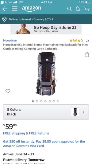 Mooedcoe 95L Internal Frame Mountaineering Backpack for Men Outdoor Hiking Camping Large Backpack for Sale in Norwalk, CA