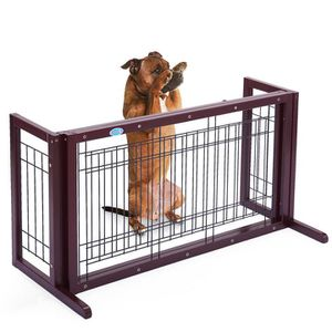 New Adjustable Indoor Dark Brown Solid Wood Pet Fence Dog Free Standing Gate 0239 for Sale in Ontario, CA